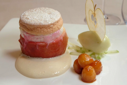 Raymond Blanc apple and calvados souffle with apple sorbet on Masterchef 2019