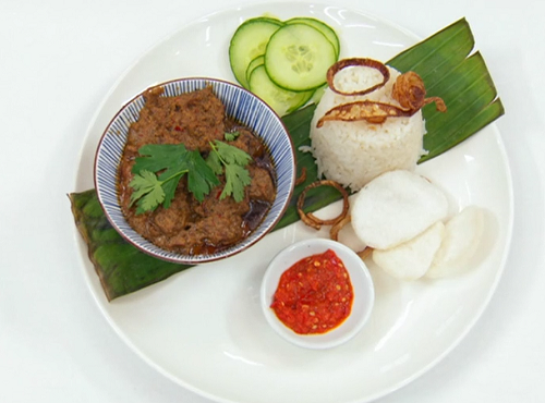 Jasmine's Indonesian beef rendang with jasmine rice and sambal on Masterchef 2019
