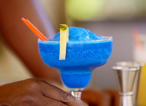Blue cocktail on Ainsley's Caribbean Kitchen in Antigua
