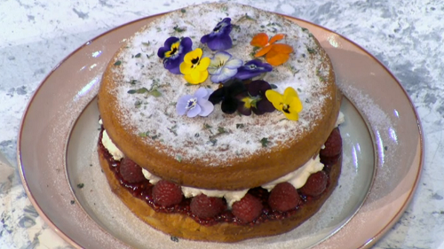 Angela Clutton cherry vinegar Victoria sponge on Sunday Brunch