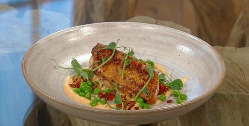 Gary O'Hanlon chicken mornay with chorizo, peas and cheese sauce on Saturday kitchen