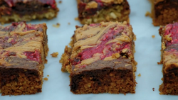 Russell's chocolate brownie flapjacks on The Great Celebrity Bake Off for stand up to cancer