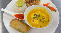 Jasmine's coconut halibut curry with spring roll, rice and homemade bread on Masterchef 2019