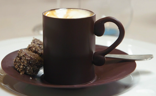 Raymond Blanc cafe creme witha  tempered chocolate cup and saucer  filled with a coffee sponge a ...