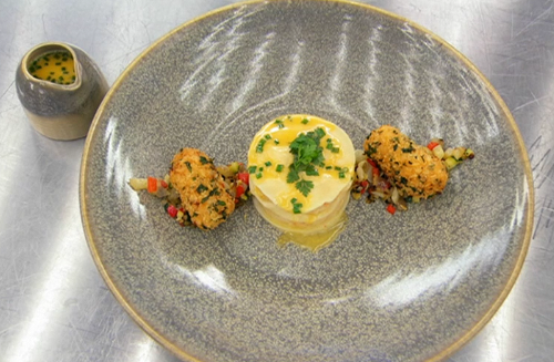Alex's crab and prawn mousse lasagna with a tomato beurre blanc sauce on Masterchef 2019