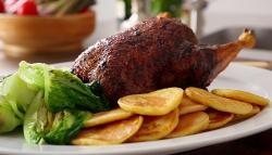 Tom Kerridge crispy roast duck with potato pancakes and braised gem lettuce on Saturday kitchen