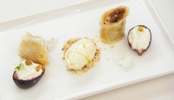 Irini's fig and hazelnut baklava with fig leaf ice cream dessert on Masterchef 2019 final