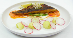 Jasmine's pan fried mackerel with Indonesian spiced curry paste with sambal on Masterchef 2019