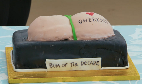 Joe Wilkinson's chocolate orange bum  cake on The Great Celebrity Bake Off for Stand up to ...