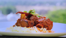 Laal maas lamb curry served  at the Fairmont hotel on Parveen's Indian Kitchen