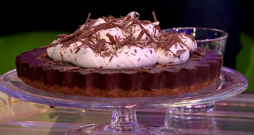 Mary Berry's cappuccino tart with digestive biscuits  and a chocolate and cream topping on ...