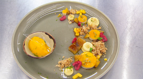Alex's coconut and agave panna cotta with passion fruit mousse dessert on Masterchef 2019