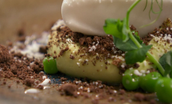 Adam Handling's pea, chocolate and coconut dessert made by Paul on Masterchef 2019