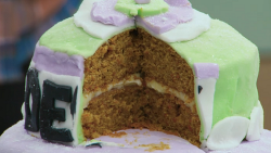 Sally Lindsay suffragette carrot cake on The Great Celebrity Bake Off for Stand up to cancer