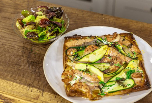 James Martin Salmon with Prawn and Courgette Tart on James Martin's Saturday Morning