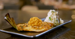 Vivek Singh sea bass with green mango and coconut chutney on Parveen's Indian Kitchen