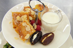 Amal's semolina cake with stuffed dates and milk on Masterchef 2019