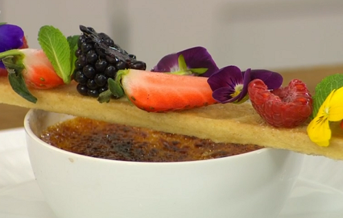 James Martin creme brulee with berries and shortbread on James Martin's Saturday Morning
