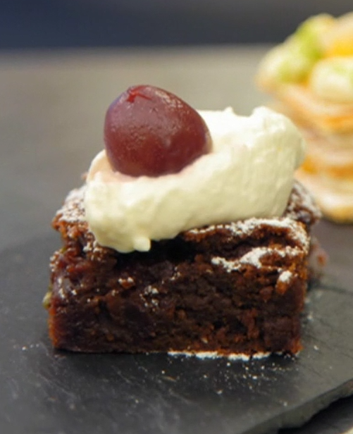 Alex's sour cherry and pistachio brownie for afternoon tea on Masterchef 2019