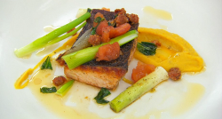 Jay's spiced salmon with butternut squash and leeks on Masterchef 2019