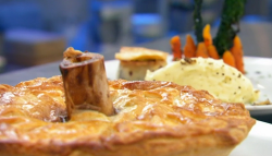 Paul's steak, cow heel and oyster pie with truffle mash potatoes on Masterchef 2019