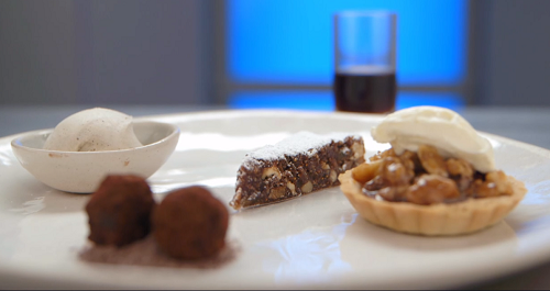 Geoff's walnut dessert four ways with a Italian panforte cake, truffles and ice cream on M ...