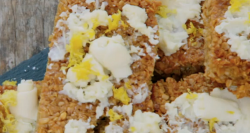 Ryland's lemon and white chocolate flapjacks on The Great Celebrity Bake Off for stand up  ...