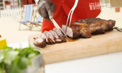 Levi Roots ultimate BBQ roast lamb with potatoes and a  pomegranate and mint salad on John and L ...
