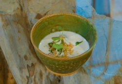 Richard Briers Norfolk  cheese soup with crispy onions and wild garlic on Saturday Kitchen