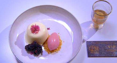 Emily Scott Disco Fever dessert with panna cotta and ice cream on the Great British Menu