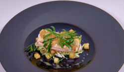 Ryan Simpson-Trotman's fishing for a 45 fish course with Dover sole on the Great British Menu