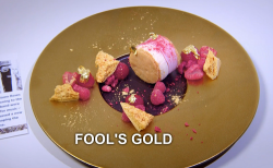 Sabrina Gidda's fools gold dessert on the Great British Menu