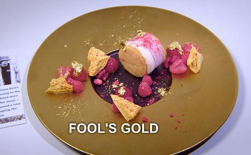 Sabrina Gidda's fools gold dessert on the Great British Menu