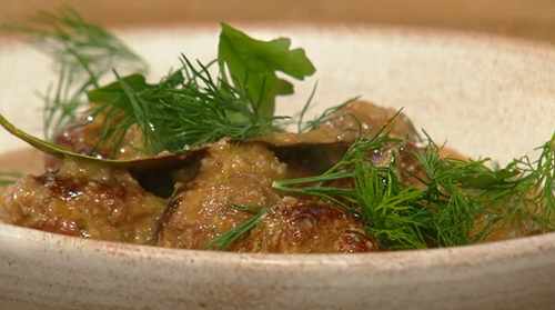 Ben Tish meatballs with almond, garlic, bread and sherry sauce on Saturday Kitchen