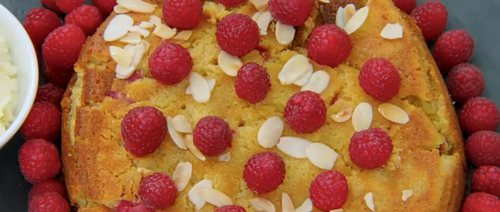 Krishnan's raspberry and almond polenta cake on Great Celebrity Bake Off Stand Up To Cance ...