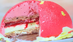 Adam and Sam's red velvet cake with raspberry and cream cheese on Bake Off: The Profession ...