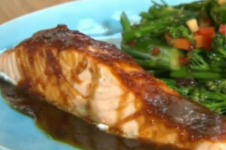 Ching's steam salmon teriyaki with stir fried vegetables on John and Lisa's Weekend  ...