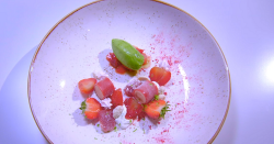 Lee Smith strawberry fields dessert on the Great British Menu