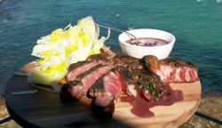 John Torode and Lisa Faulkner steak in red wine butter sauce with  on John and Lisa's Weekend Ki ...
