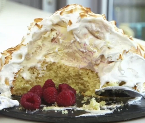 Nadia Sawalha baked Alaska dessert on on John and Lisa's Weekend Kitchen