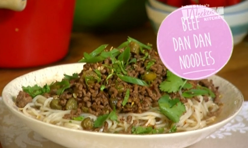 Ching's beef dan dan noodles on on John and Lisa's Weekend Kitchen