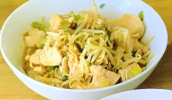 Jen's speedy cheater pho with chicken, Thai 7 spice, teriyaki sauce and rice noodles on Ea ...