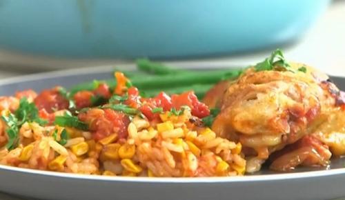Nadia Sawalha chicken a la Mexicaine on John and Lisa's Weekend Kitchen