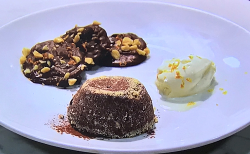 Clodagh McKenna gooey chocolate and orange pudding with hazelnut crumb, Florentine biscuits and  ...