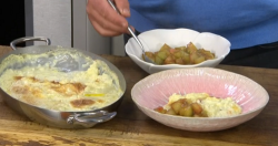 James Martin Clotted Cream Rice Pudding with Rhubarb on James Martin's Saturday Morning