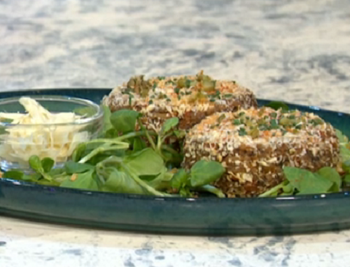 Adria Wu heart of palm crab cakes on Sunday Brunch