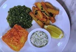 Mark Sargent's fish and chips with green peas an coriander butter on Beat The Chef