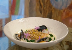 Anna Haugh oat crusted hake with mackerel and mussel veloute on Saturday Kitchen