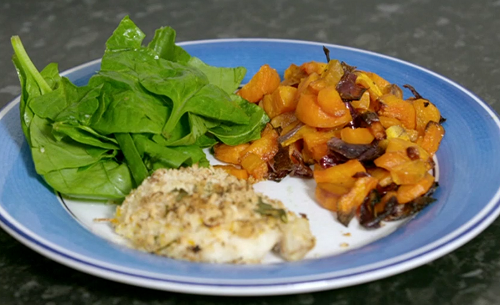 Kate and Ellie's herb crusted fish with vegetable tray bake on Eat Well For Less?
