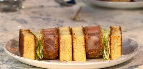Max Halley 's Katsu Sando  sandwich on Sunday Brunch